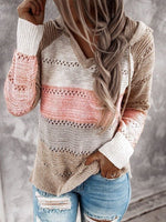 Casual Long Sleeve Stripes Shift Sweater