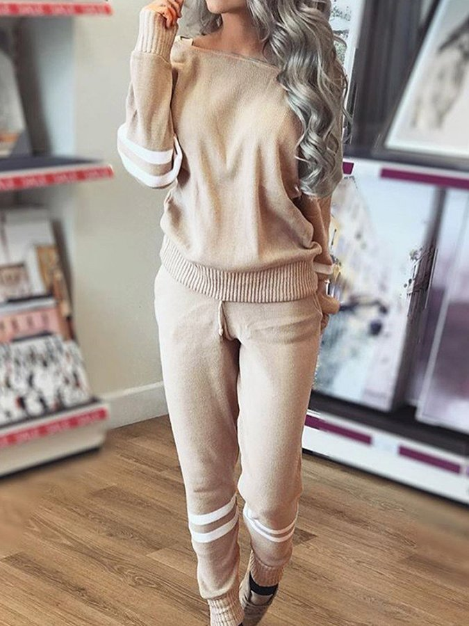 Solid Color Retro Long Sleeve Sweater Suit