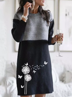Purplish Blue Paneled Animal Crew Neck Long Sleeve Dresses