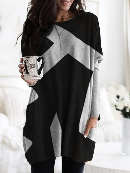 Geometric Print Casual Long-Sleeved Top