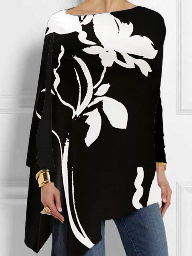 Black Casual Long Sleeve Floral Cotton-Blend Shirts & Tops