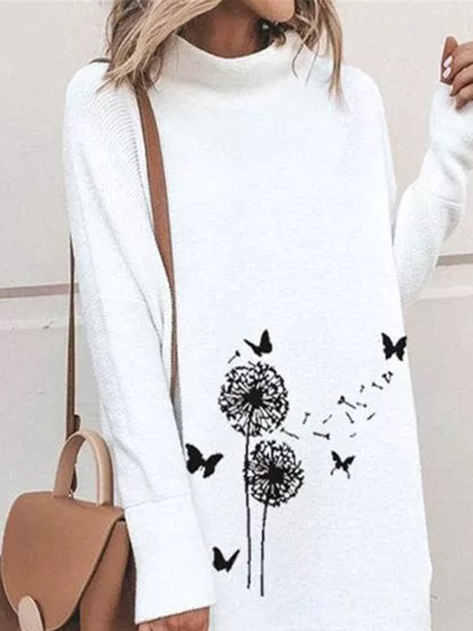 Casual Floral Shirt High Neckline  Dress