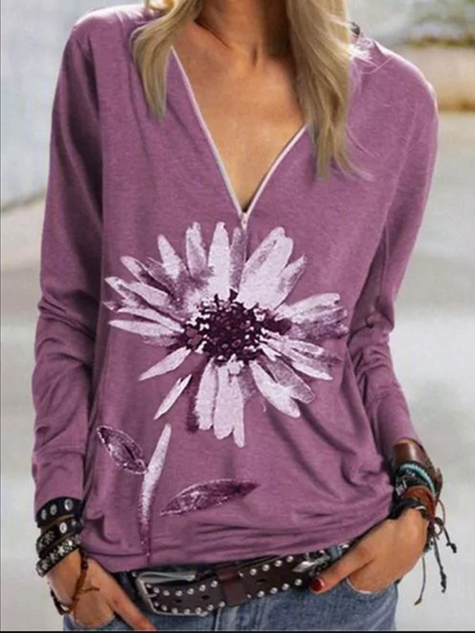Long Sleeve Floral Shirts & Tops