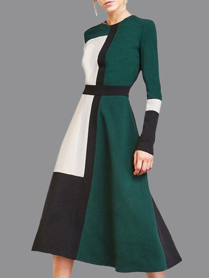 Green Long Sleeve Solid Crew Neck Dresses
