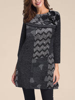 Deep Gray Crew Neck Long Sleeve Paneled Geometric Dresses