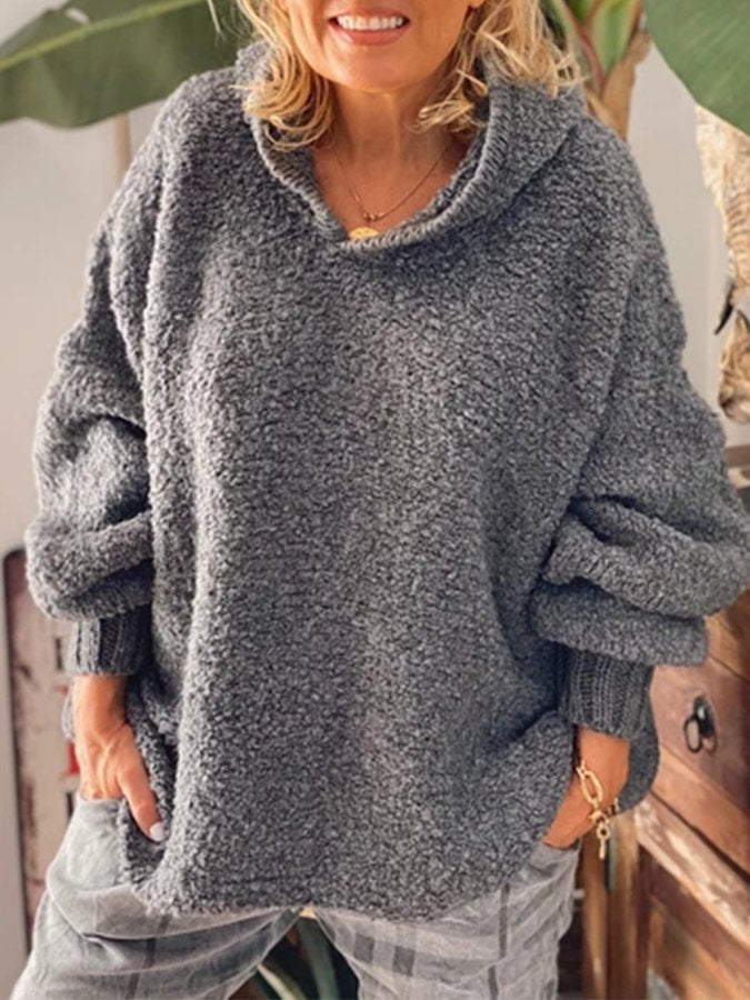 Gray Casual Knitted Plain Hoodie Sweater