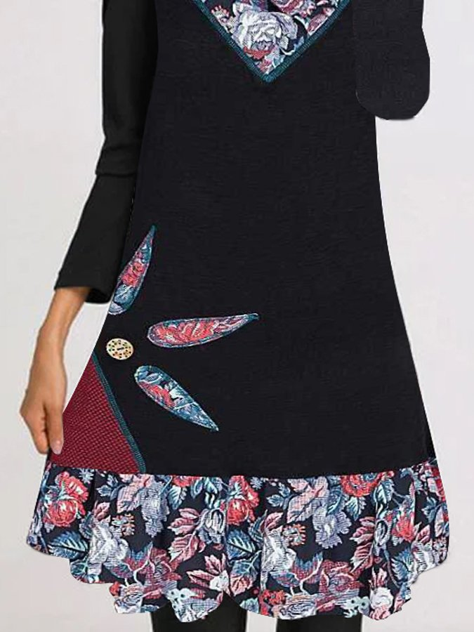 Floral Long Sleeve Round Neck Dresses