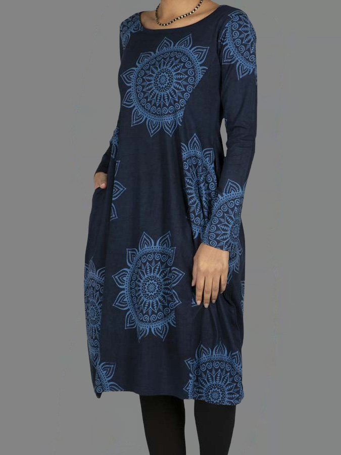 Blue Long Sleeve Floral Crew Neck Cotton-Blend Dresses