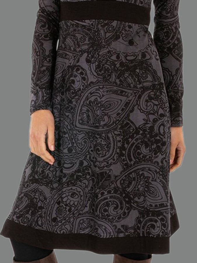 V-Neck Print Women's Midi Dress