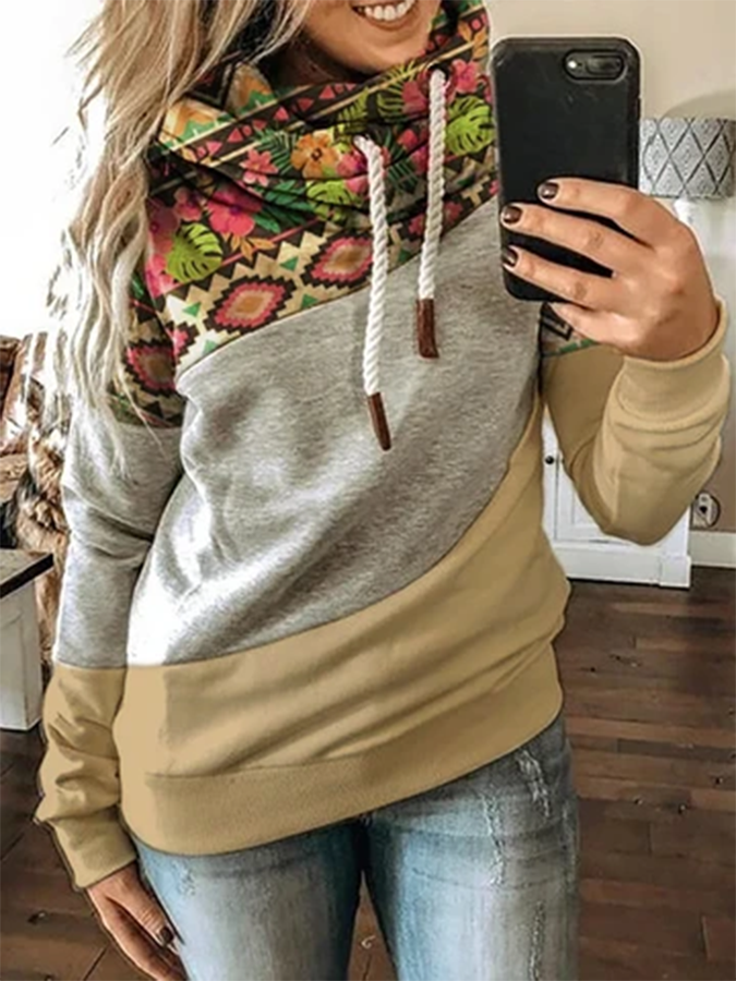 Khaki Printed Shift Long Sleeve Hoodie Sweatshirt