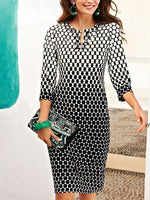 Gray 3/4 Sleeve V Neck Polka Dots Dresses