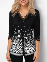 Black Floral-Print Floral Long Sleeve Shirts & Tops