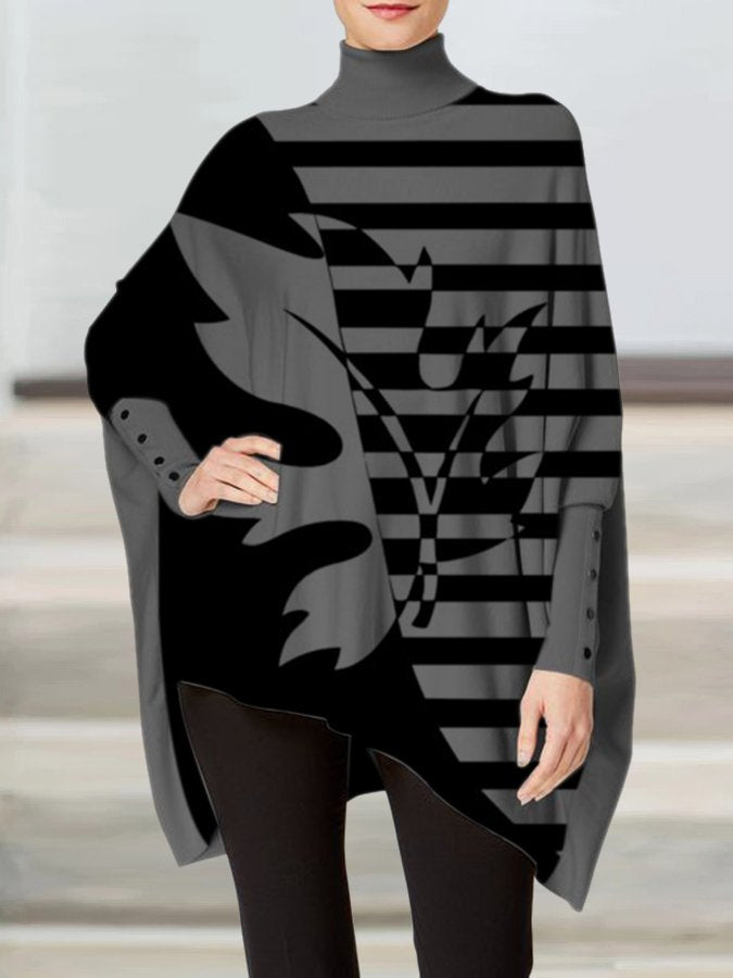 Stripes Batwing Casual Shirts & Tops