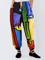 Multicolors Abstract Cotton Cocoon Casual Pants