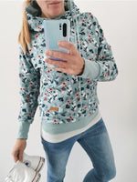 Light Blue Long Sleeve Floral Printed Hoodie Sweatshirt