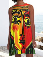 Abstract  Face Painting Red Crew Neck Sleeveless A-line Casual Dresses