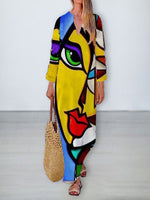 Yellow V Neck Printed Holiday Dress