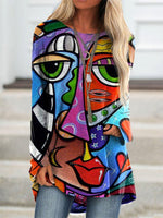 Multicolor Long Sleeve Abstract Shirts & Tops