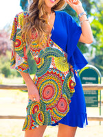 Blue V Neck Holiday Printed Swing Dresses