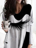 Black-Grey Casual Long Sleeve Abstract Shirts & Tops