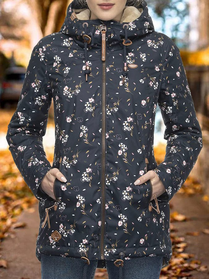 Black Floral Shift Printed Casual Outerwear