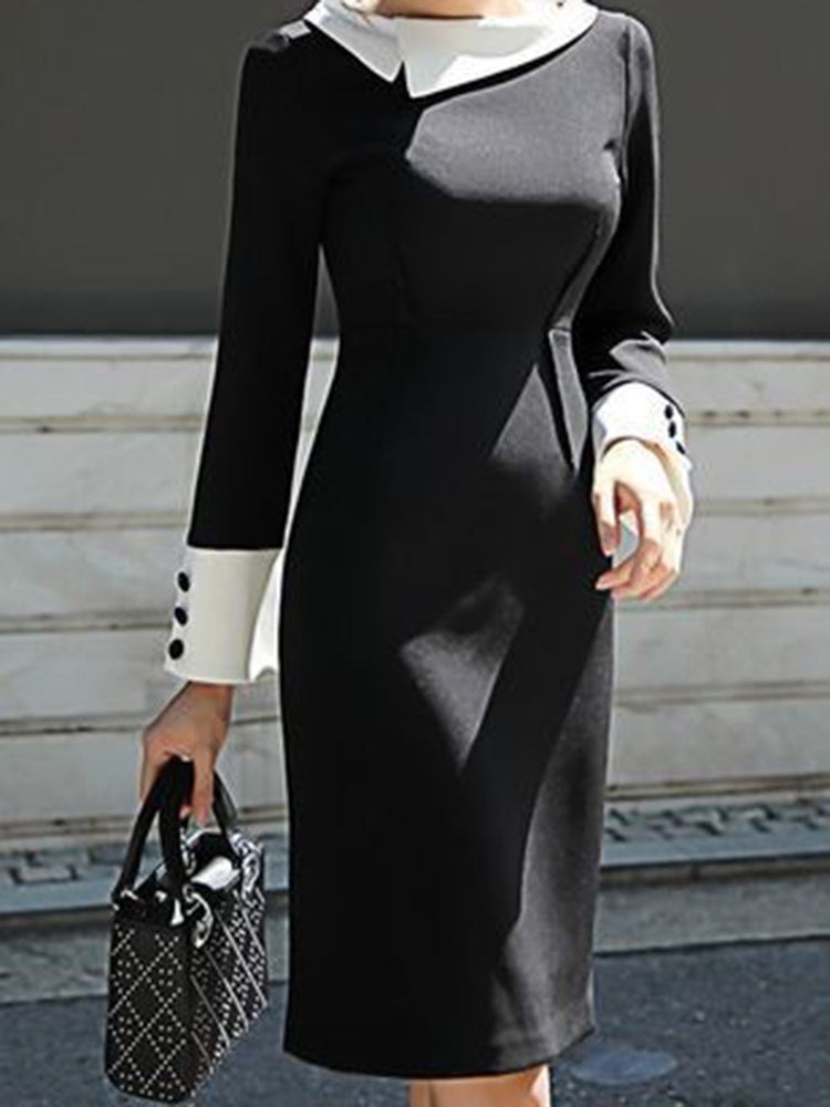Black-White Work Long Sleeve Sheath Plain Dresses