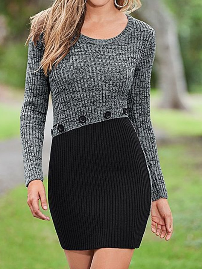 Button Sweater Dress