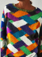 Multicolor Cotton-Blend Casual Scoop Neckline Checkered/plaid Sweater