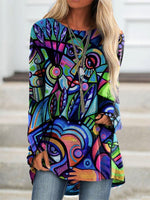 Long Sleeve Abstract Printed Shirts & Tops