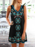 Black Floral Printed V Neck Sleeveless Holiday Casual Dresses