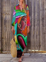 Multicolor Abstract Holiday Printed Shift Dress