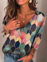 Pink Printed Long Sleeve Geometric Shirts & Tops