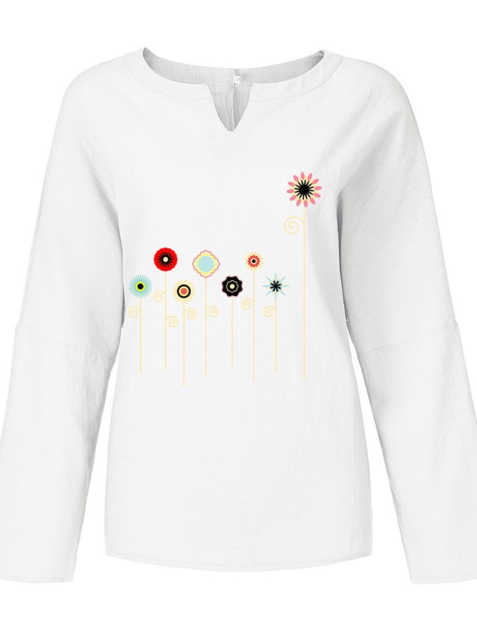 Long Sleeve V Neck Printed T-Shirts & Tops