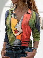 Multicolor Abstract Printed Casual Long Sleeve Shirts & Tops