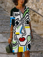 Abstract Print Casual Dress