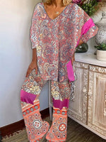 Casual V Neck Tribal Shift Suits