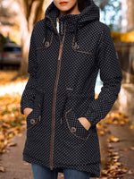 Black Hoodie Casual Long Sleeve Polka Dots Outerwear