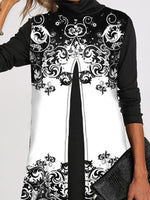 Warm Ceramic Pattern Loose Long Sleeve Casual Dress
