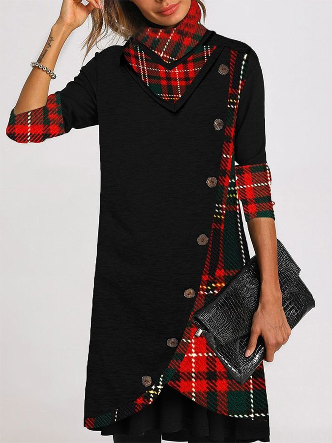 Warm Plaid Stitching Casual Dress with Buttons