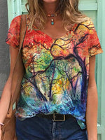 As Picture Cotton Floral Short Sleeve Shirts & Tops