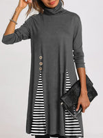 Turtleneck Solid Color Stripe Stitching Casual Dress