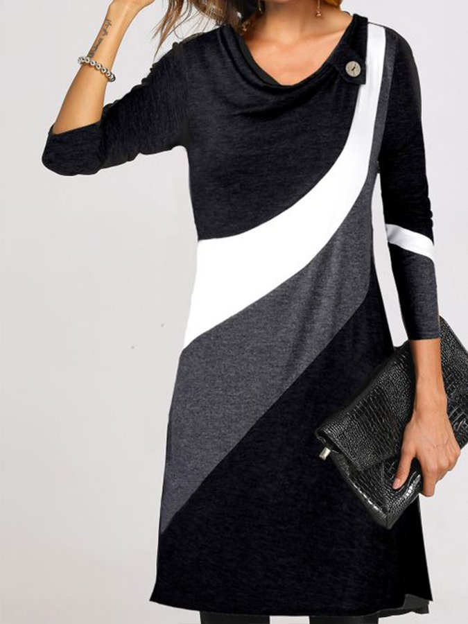 Color-Block Long Sleeve Shift Dresses