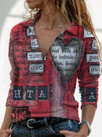 Red Casual Shawl Collar Printed Long Sleeve Tops