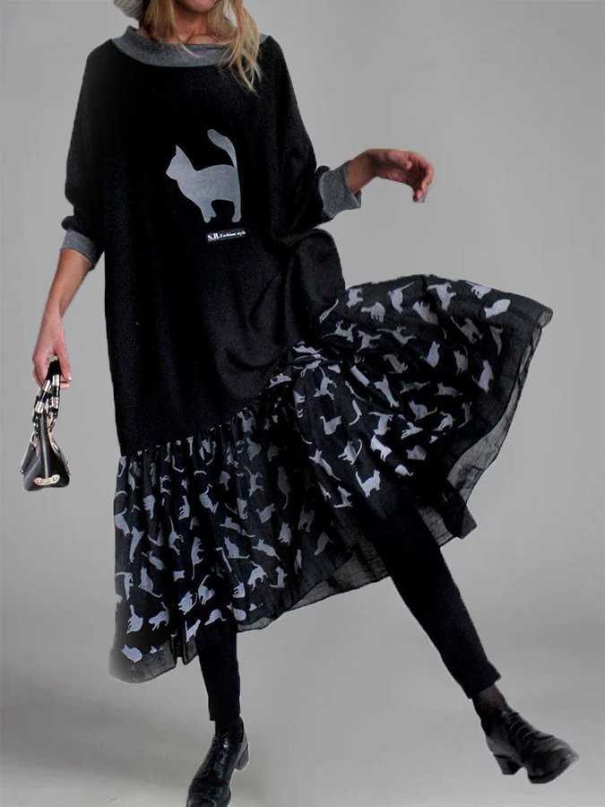 Casual Animal Long Sleeve Swing Dresses