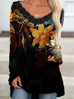 As Picture Floral V Neck Cotton Long Sleeve Shirts & Tops
