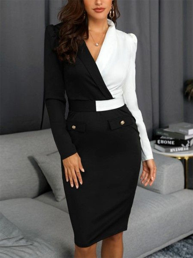 Black V Neck Casual Long Sleeve Dresses