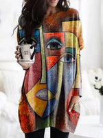 Multicolor Printed Abstract Cotton-Blend Casual Shirts & Tops