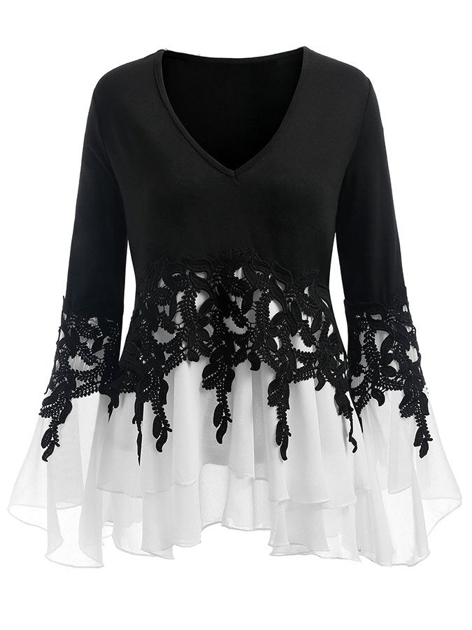 Women's lace patchwork with irregular lace fringe long sleeve top
