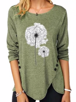 Casual Sheath Long Sleeve Crew Neck Shirts & Tops