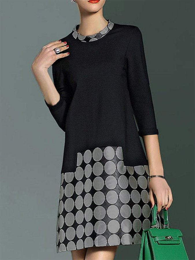 Shift 3/4 Sleeve Polka Dots Dress